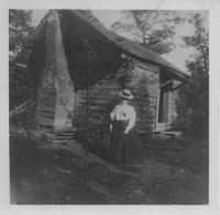 Photograph of Martha Berry in front of the Original Cabin, Mount Berry, Georgia,...