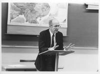 Photograph of Dr. Hoyt teaching a class on religion, Mount Berry, Georgia, 1985...