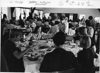 Photograph of Berry Academy students eating a meal in the Hill Dining Hall,...